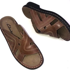 Clark's Brown Leather Slip On Slide Sandal